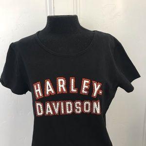 Embellished Harley Davidson women's black t shirt